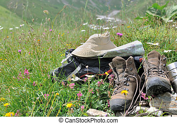 items mountain with shoes - hiking items with shoes on...