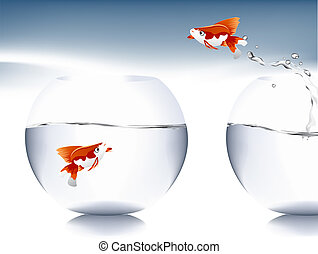 Vector illustration - A goldfish jumping out of the water to...