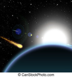 Asteroid and planet Earth with the sunise on background