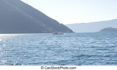 Tourist boat in the sea. Bay of Kotor. Montenegro.