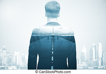 Travel concept - Businessman on abstract background with...