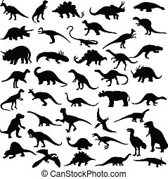 dinosaur reptiles vector silhouettes
