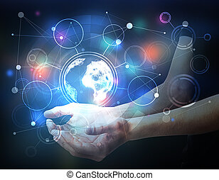 Global business concept - Male hands holding abstract...