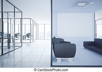 Contemporary office with blank poster