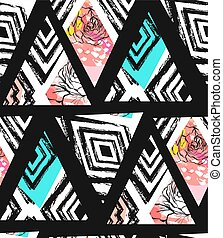 Hand drawn vector abstract freehand textured seamless pattern collage with zebra mottif,organic textures,triangles and flowers isolated on black background.Wedding,save the date,birthday,decoration.