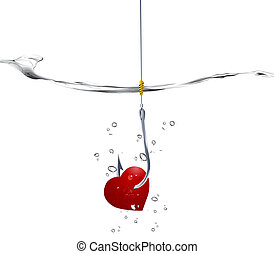 Vector illustration - Valentines Day Concept, fishhook prick...