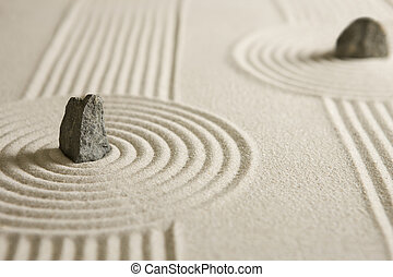 Rock garden - Rocks surrounded by sand circles. Mini zen...