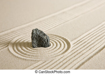Rock garden - Rock surrounded by sand circles Mini zen...