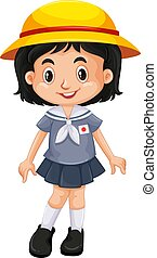 Japanese girl in school uniform illustration