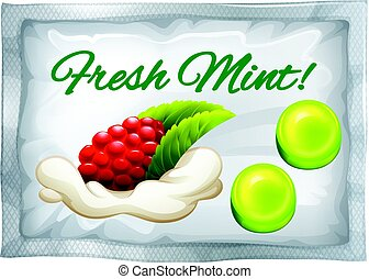 Mint candy in plastic bag illustration