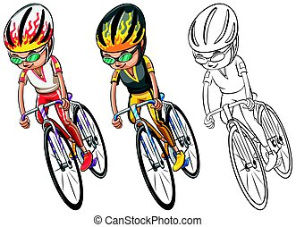 Man riding bicycle in three sketches illustration
