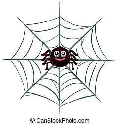 Happy spider on the web