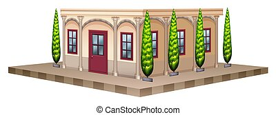 Building with pine trees on the sides illustration