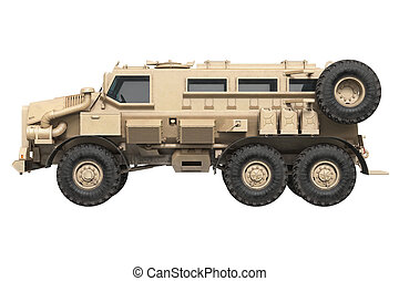 Truck military army car, side view