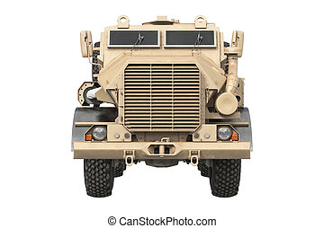 Truck military beige car, front view