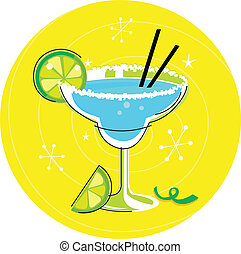 Blue Margarita cocktail on yellow - Fresh drink with a...