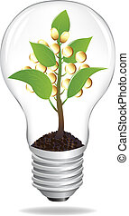 Bulb With Sprout And Coins