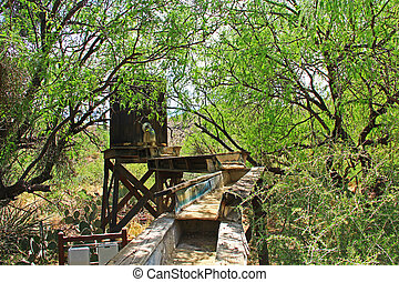 Mining Sluice on La Posta Quemada Ranch in Colossal Cave Mountain Park