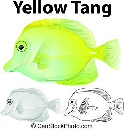 Doodle character for yellow tang fish illustration