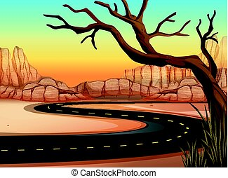 Road trip to western land illustration