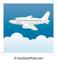 Błękitny, niebo, samolot, chmury, Wektor, tło, biały, styl, rysunek