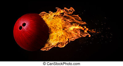 Flying Bowling Ball Engulfed in Flames - Flying bowling ball...
