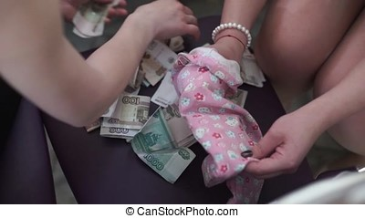 Woman hands counting Russsians rubles bills. Women counts...