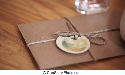 Vintage package tied up with string. Close up envelope...