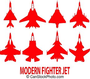 Fighter planes. - Modern fighter plane designs in top view.