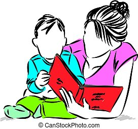 mother with baby reading book illustration