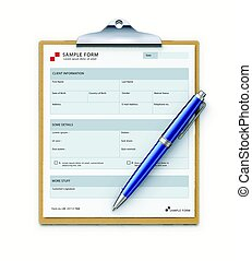 Sample form mock-up - Vector illustration of clipboard with...