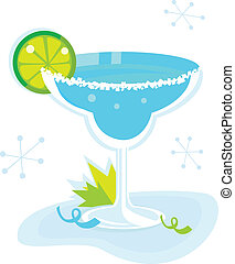 Blue Margarita cocktail on white - Retro Margarita drink...