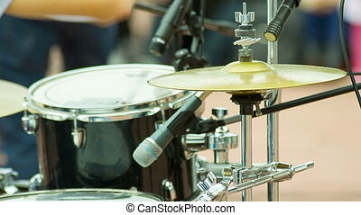 Man's hand beats the drum - Men's hand beats the drum and...
