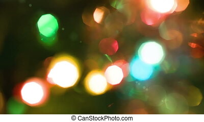 Christmas garland with lights on the new year tree, hd 1080p