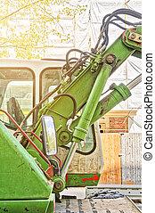 HDR shot, detail of a green digger