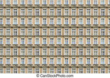 window pattern of an old house in Berlin Kreuzberg