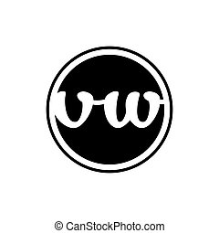 initial letter vw logo circle with ring