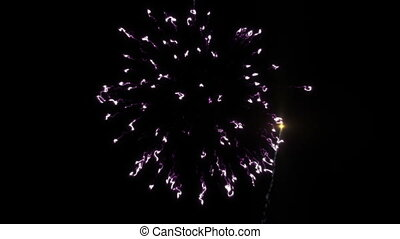Colorful fireworks with heart in final at the black BG