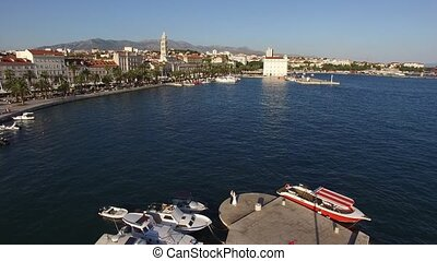 The embankment of the old town of Split in Croatia. Aerial...
