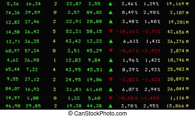 Colorful stock market board on CRT monitor - 1920x1080,...