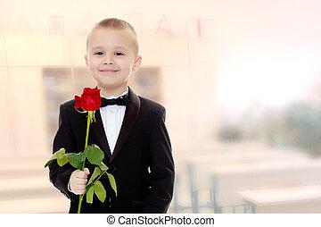 Little boy with a rose flower. - Beautiful little boy in a...