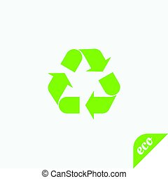 Green icon of ecology. Arrows are renewable.