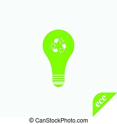 Green icon of ecology. Light bulb on a light background