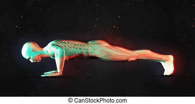 3D male figure in press up position - 3D render of a male...