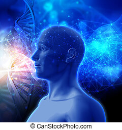 3D medical background with DNA strands and male head