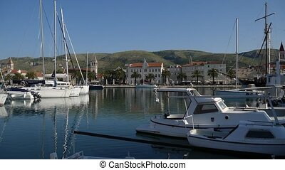 Mooring for yachts near the old town of Trogir