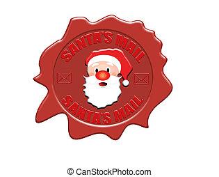 Santa's mail wax seal - Wax seal with the text Santa's mail,...