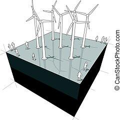 Wind turbines diagram - diagram of a wind turbines farm