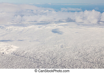 Top view Iceland natural winter season landscape