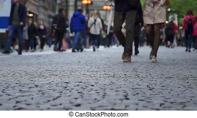 The crowd of people walking in europe street